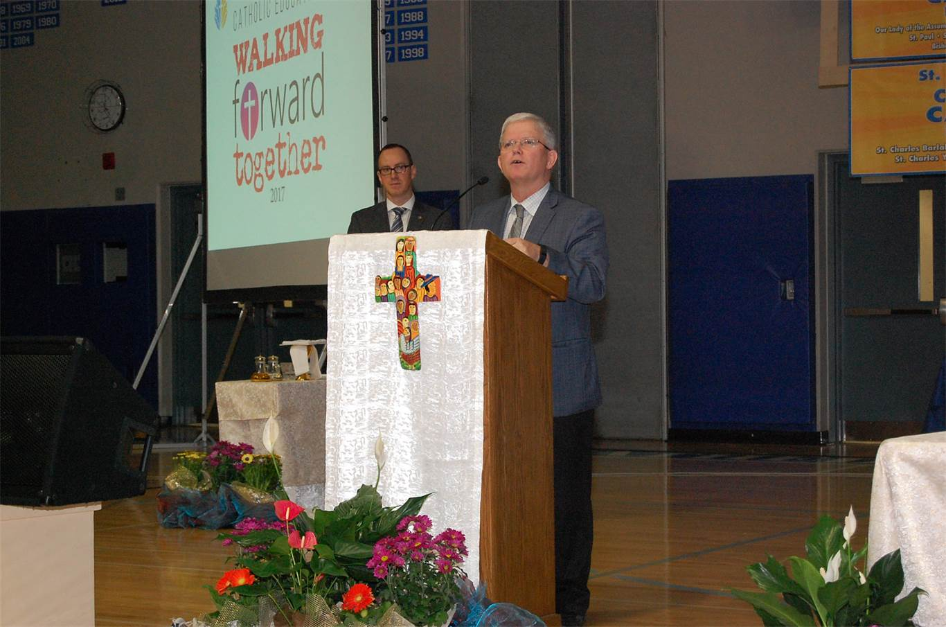Welcoming students and staff to the Catholic Education Week opening mass on May 1st, Chairperson Patrick Daly said